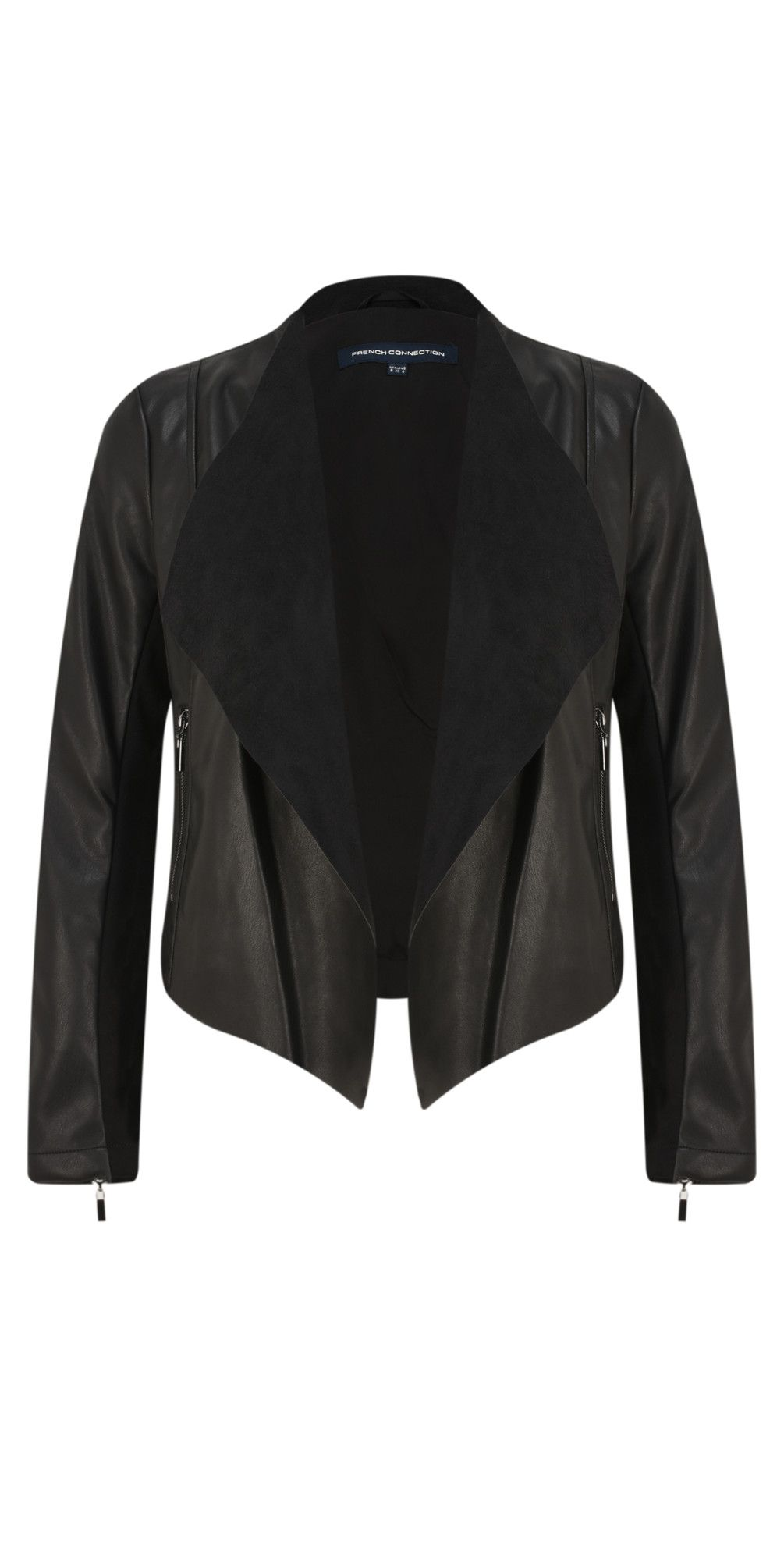 ffb3db84f Shop the French Connection Stephanie Faux Leather Waterfall Jacket ...