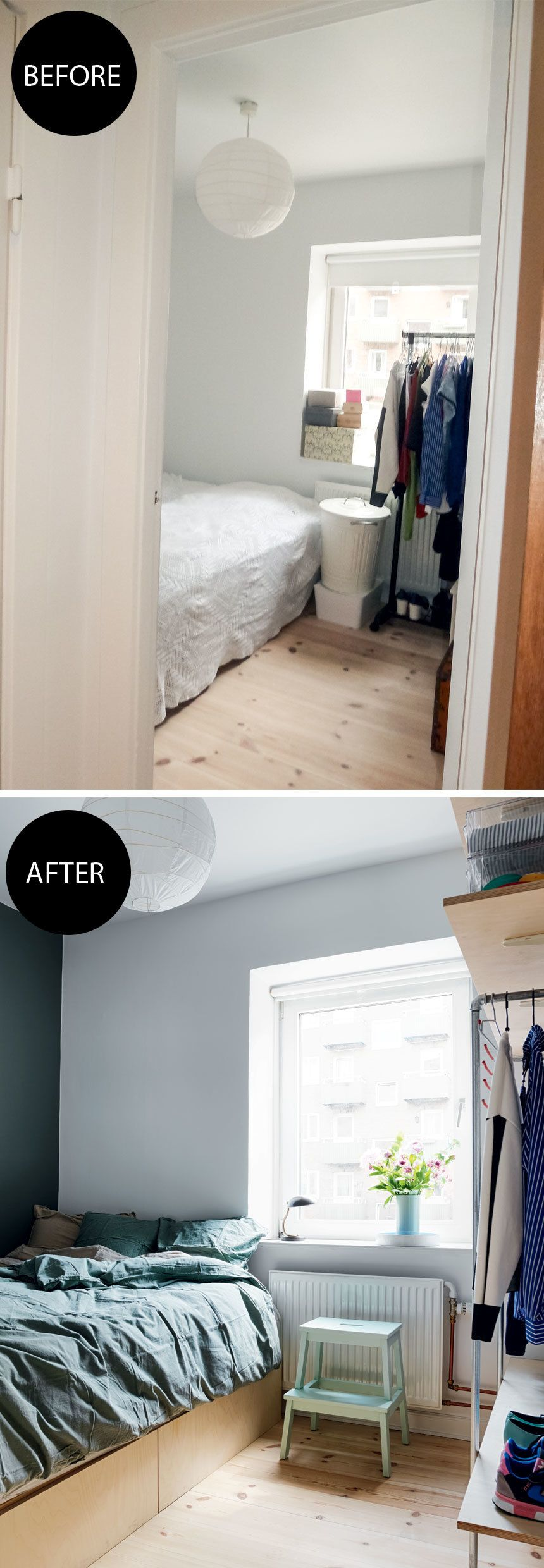 This small bedroom was remodeled with smart storage solutions and