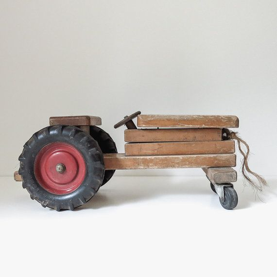 Hey, I found this really awesome Etsy listing at https://www.etsy.com/listing/241334794/vintage-sturdy-wood-tractor-toy