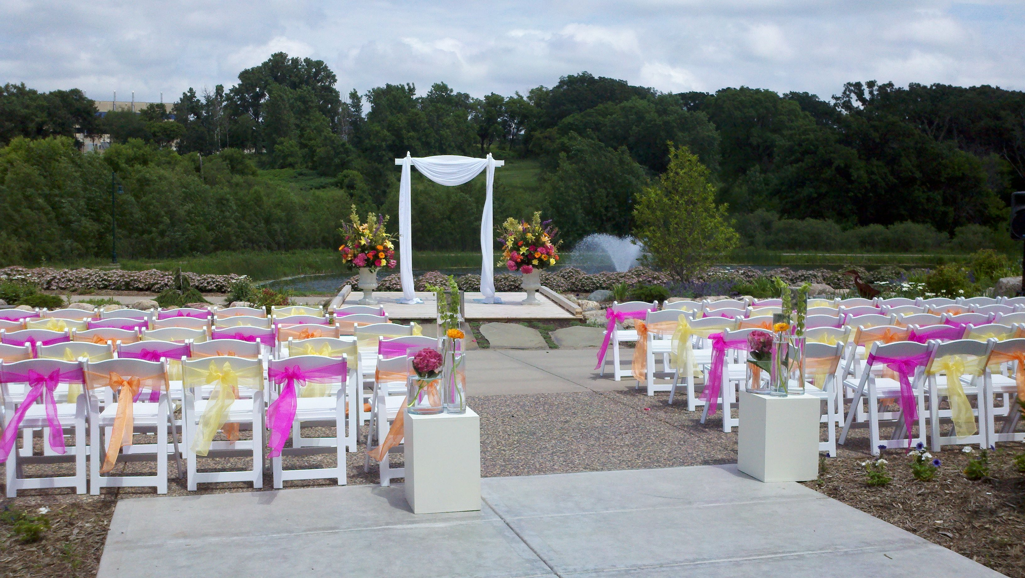 Love The Pink Orange And Yellow Combination At This Outdoor Wedding
