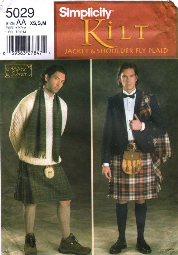 Simplicity 5029 Mens KILT and JACKET Scarf and Fly Plaid Pattern ...