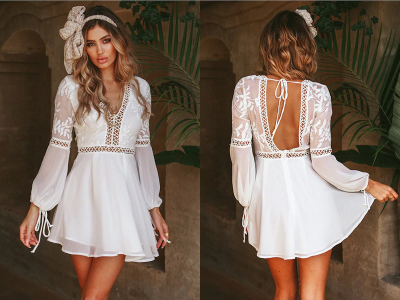 Bohemian Boho Beach Dress Summer Women Hollow Out Crochet Lace Chiffon Dress White V Neck Long Sleeve Backless Mini Sexy Dress JKP1824 #crochetbeachdress