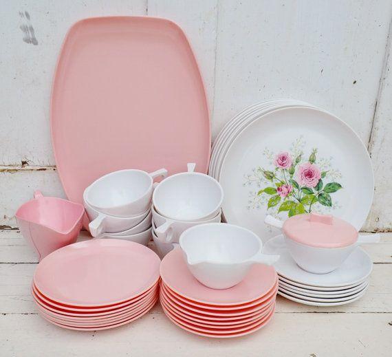 Pink White Rose Melamine Dishes Service For 8 By Ribbonsandretro 65 00