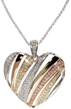 cf8033319 Effy Diamond, 14K White, Rose And Yellow Gold Heart Pendant on shopstyle.com