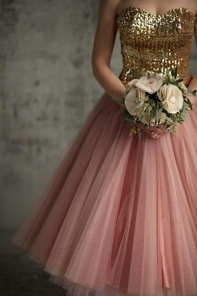 Gold and pink bridesmaid's dress -- yesssss, if the bottom were navy or dark purple