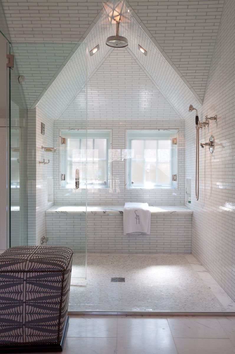 Waterworks Glass Subway Tile In Dormer Shower Room By Alisberg