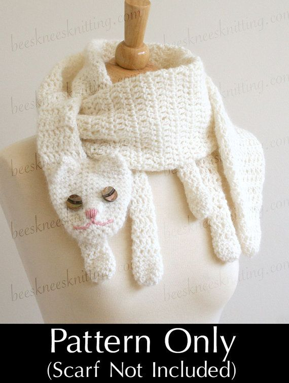 Digital PDF Crochet Pattern for Cat Cuddler Scarf - DIY Fashion ...