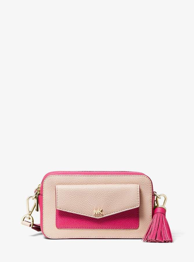 b3f89345f2a MICHAEL Michael Kors Small Two-Tone Pebbled Leather Camera Bag in ...