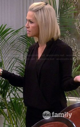 Charlie's black wrap front blouse on Mystery Girls.  Outfit Details: http://wornontv.net/34165/ #MysteryGirls