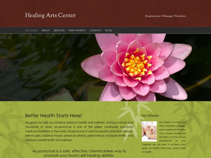 Warm Bamboo Redux Acupuncture Website 00047 Website Design Responsive Theme Healing Arts