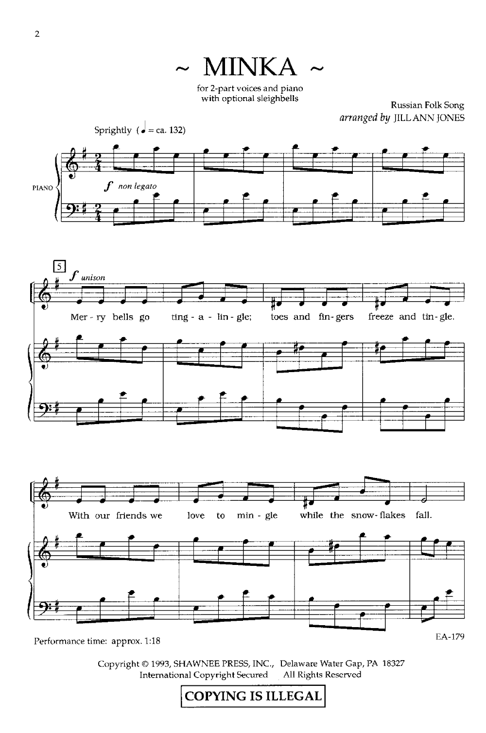 Minka Two Part Arr Jill Ann Jones J W Pepper Sheet Music Sheet Music