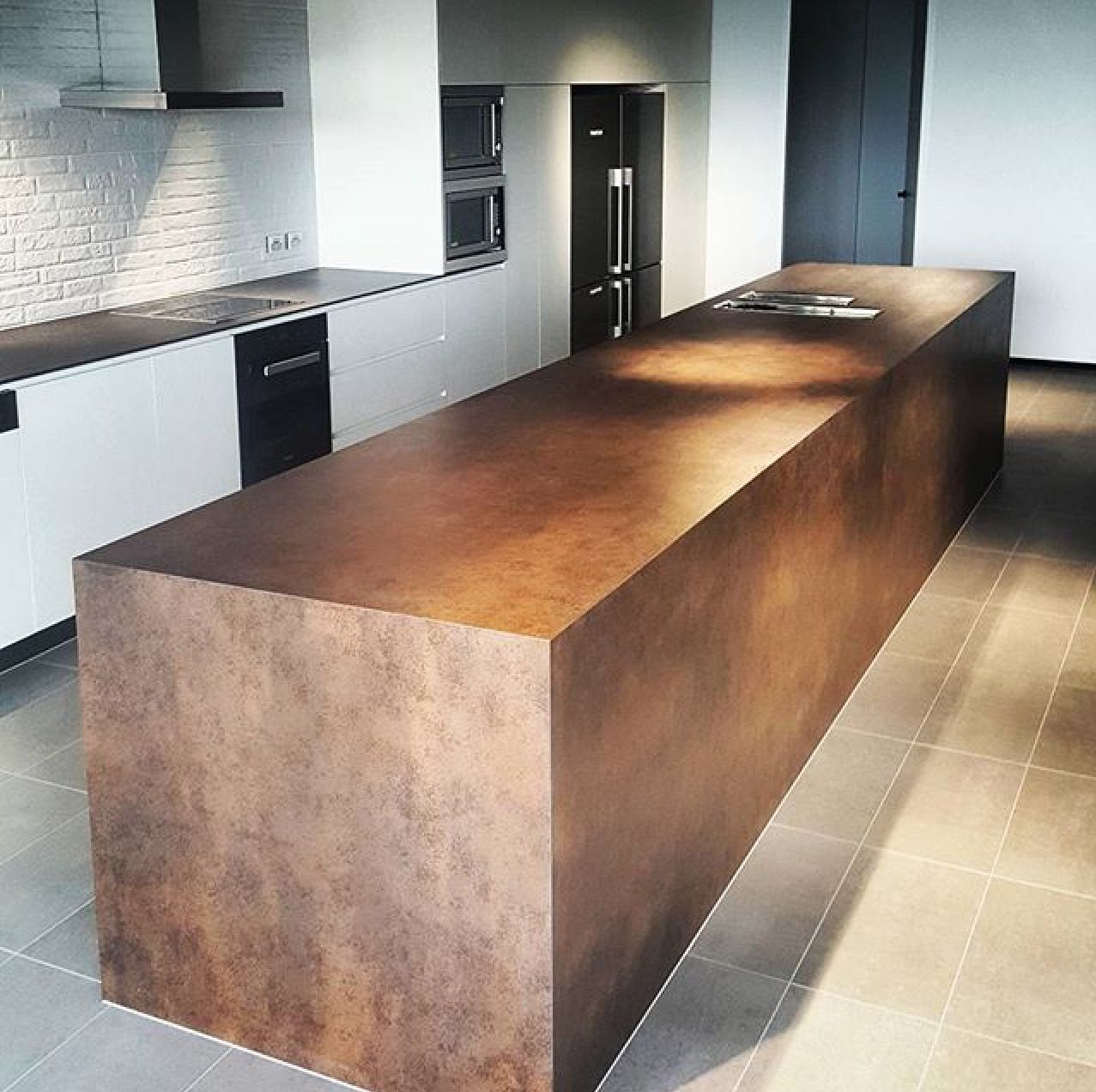 Check out this amazing Neolith Corten island bench fabricated by ...