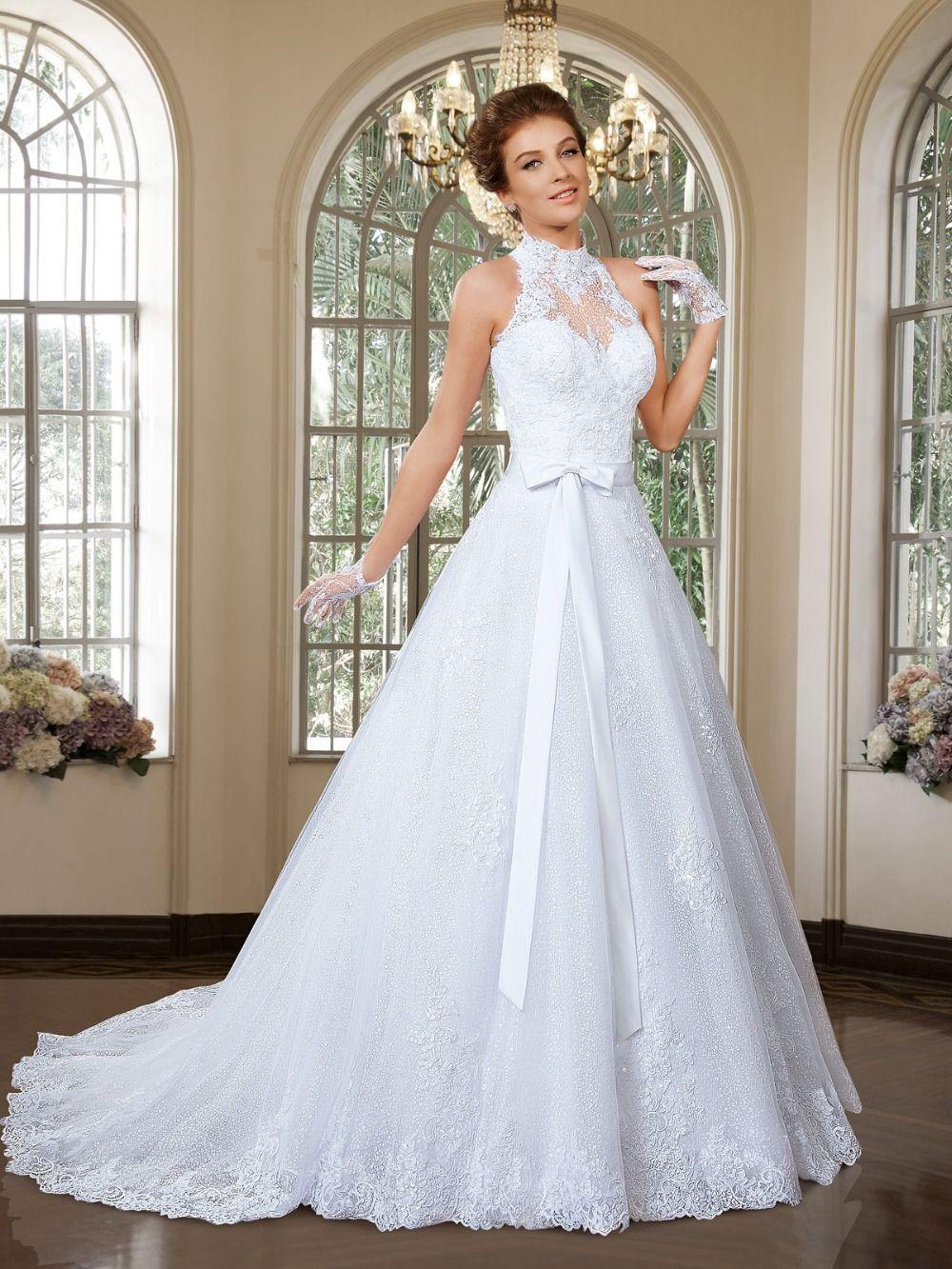 b660f54278 Vintage gola alta vestidos de casamento destacável com laço e renda...amei   D