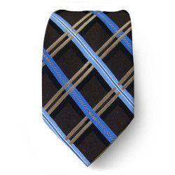 MK-412 - Chocolate Brown - Ecru - Blue - Michael Kors Silk Necktie