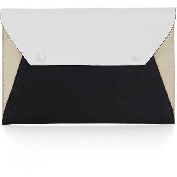 BCBGMAXAZRIA Sophie Envelope Clutch ($128) ❤ liked on Polyvore featuring bags, handbags, clutches, purses, white black, bcbgmaxazria handbags, faux leather envelope clutch, bcbgmaxazria, faux leather handbags and colorblock handbags