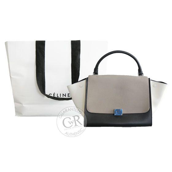 CELINE Trapeze Tricolor Granite Leather Bag