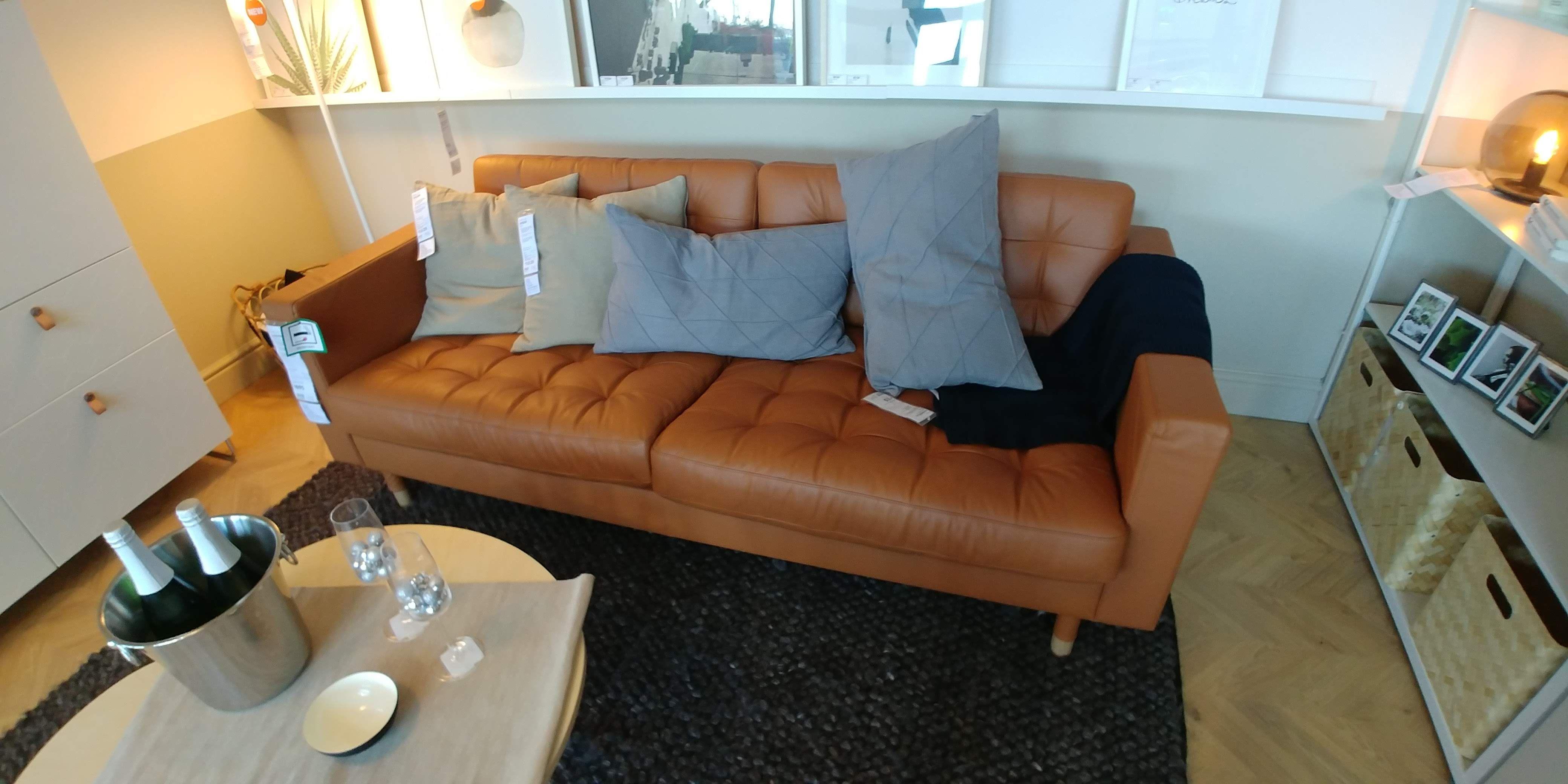 Buy Now Landskrona 3 Seat Sofa Grann Bomstad Golden Brown X 204 Cm Ikea Ireland Landskrona Sofa Ikea Landskrona Brown Leather Sofa