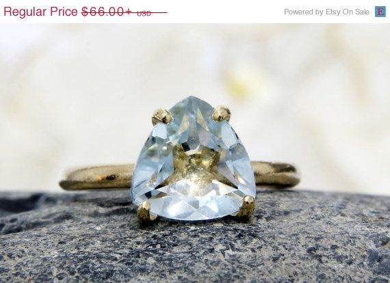 25% OFF - gold trillion ring,gold ring,gold stacking ring,blue topaz ring,gemstone ring,triangle rings,stack ring