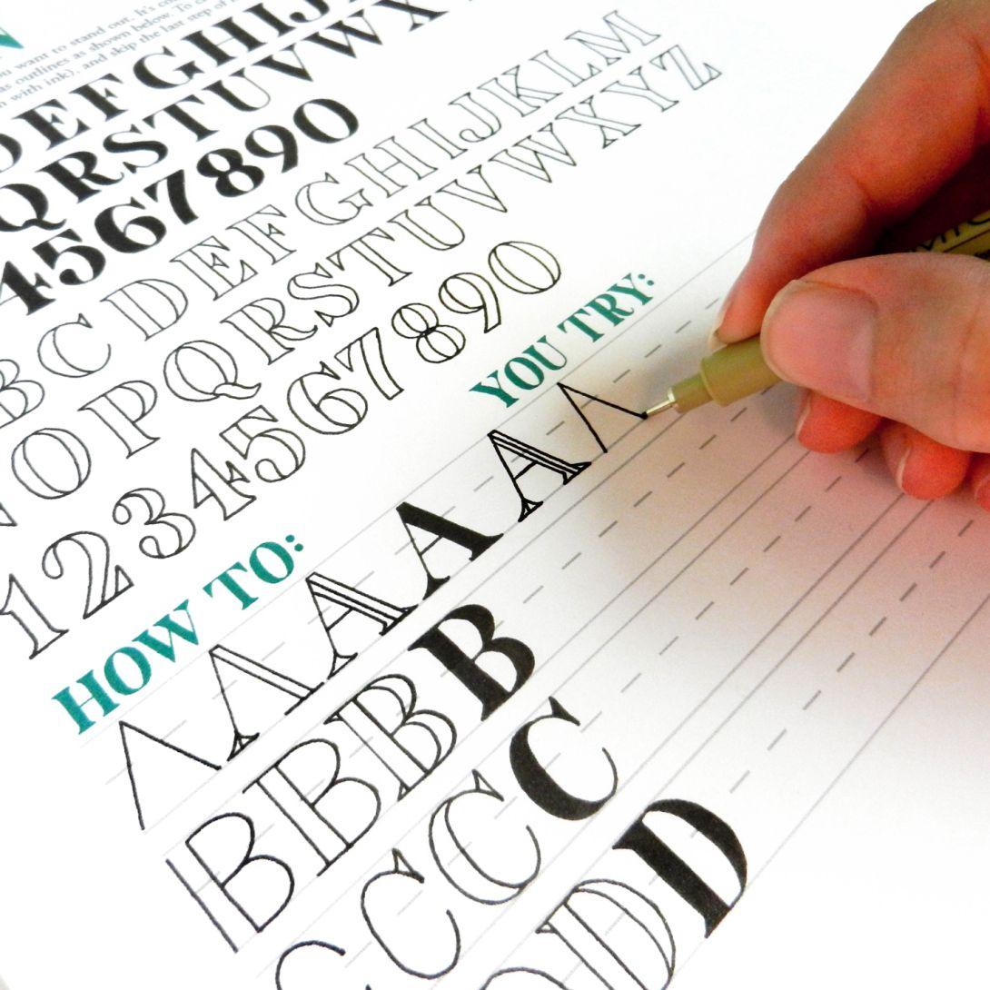 Premium Hand-Lettering Worksheet Set | Schrift, Kalligraphie und ...