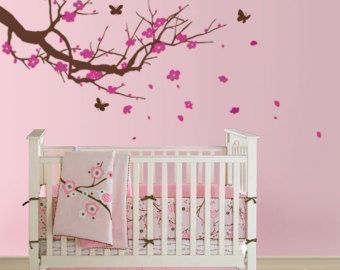 Cherry Blossom Tree With Butterflies   Nursery Vinyl Wall Decal Sticker  Nature Design For Nursery Room