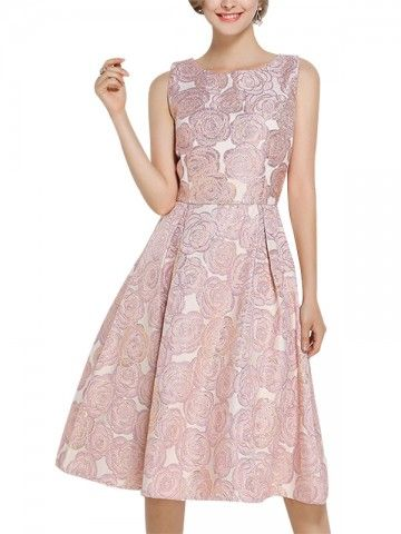 pink embroidered jacquard belted waist midi dress