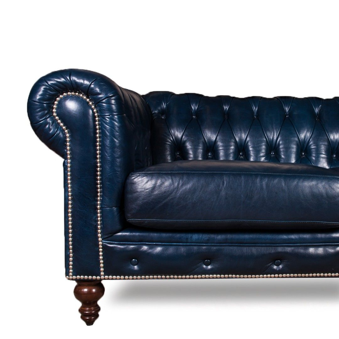 Luxurious Navy Blue Leather Chesterfield Sofa At DecorNYC
