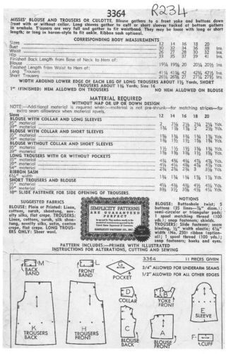 Details zu Nähmuster Schnittmuster Vintage 1940 B32-W27 Bluse-Hose ...