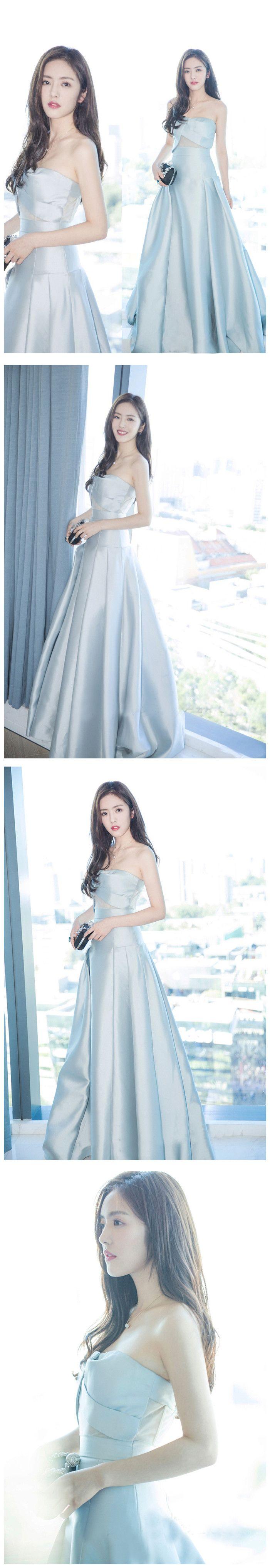 Chic aline prom dresses long blue strapless simple prom dress