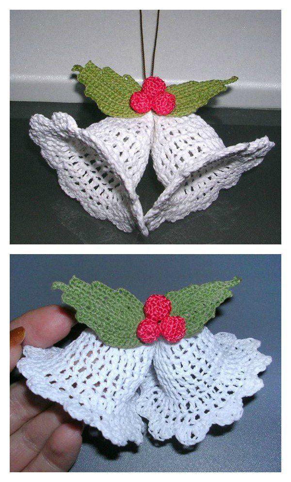 Free Christmas Bell Ornament Crochet Patterns | Adornos navidad ...