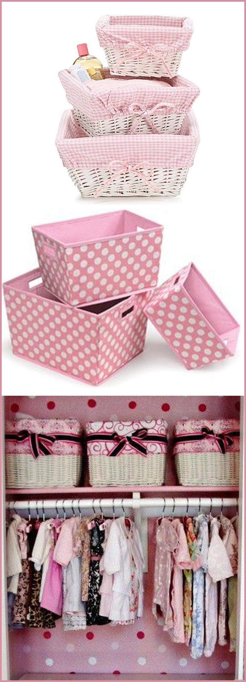 Baskets to organize baby girl nursery closet.