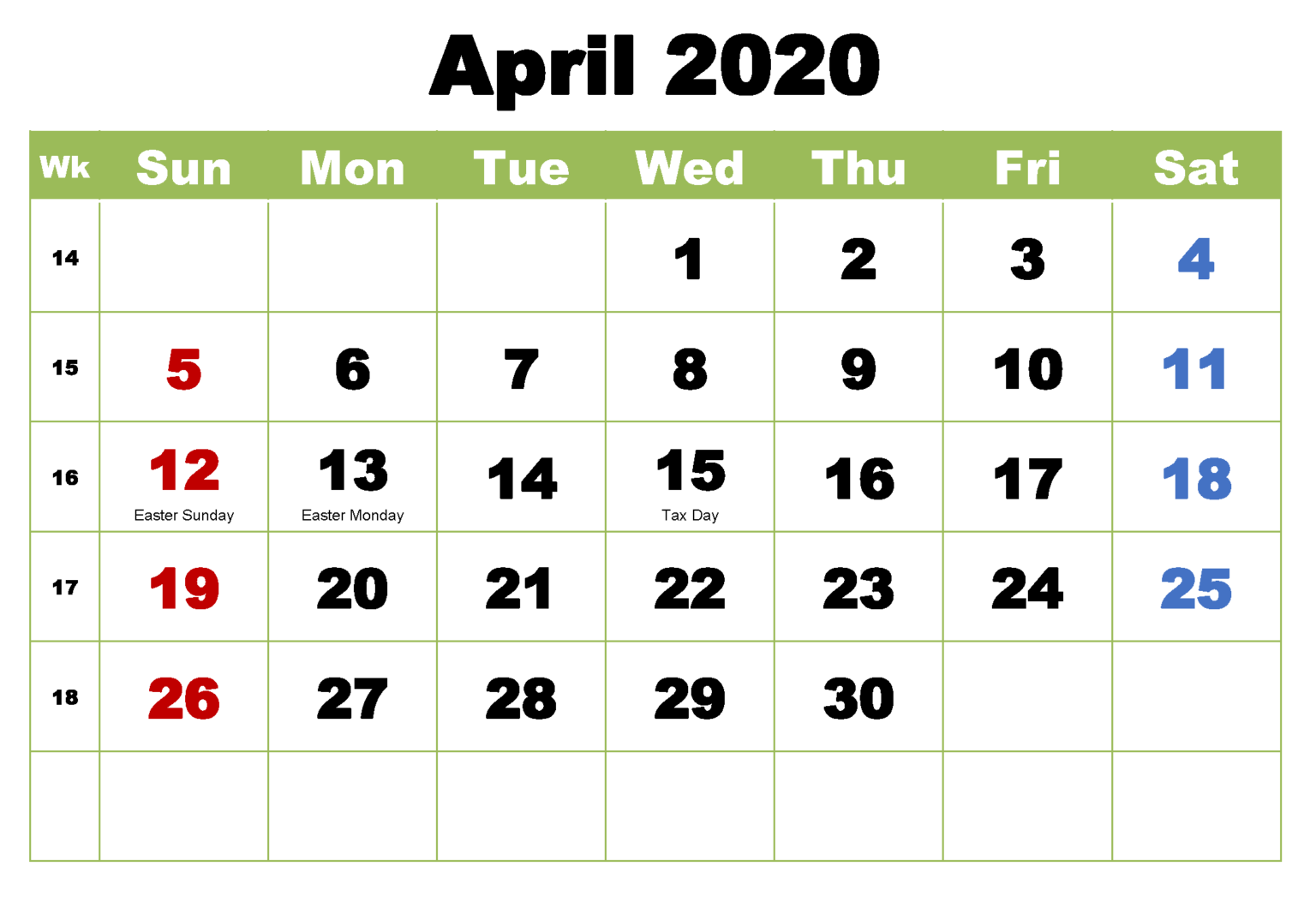 April 2020 Calendar With Holidays In 2020 With Images Holiday