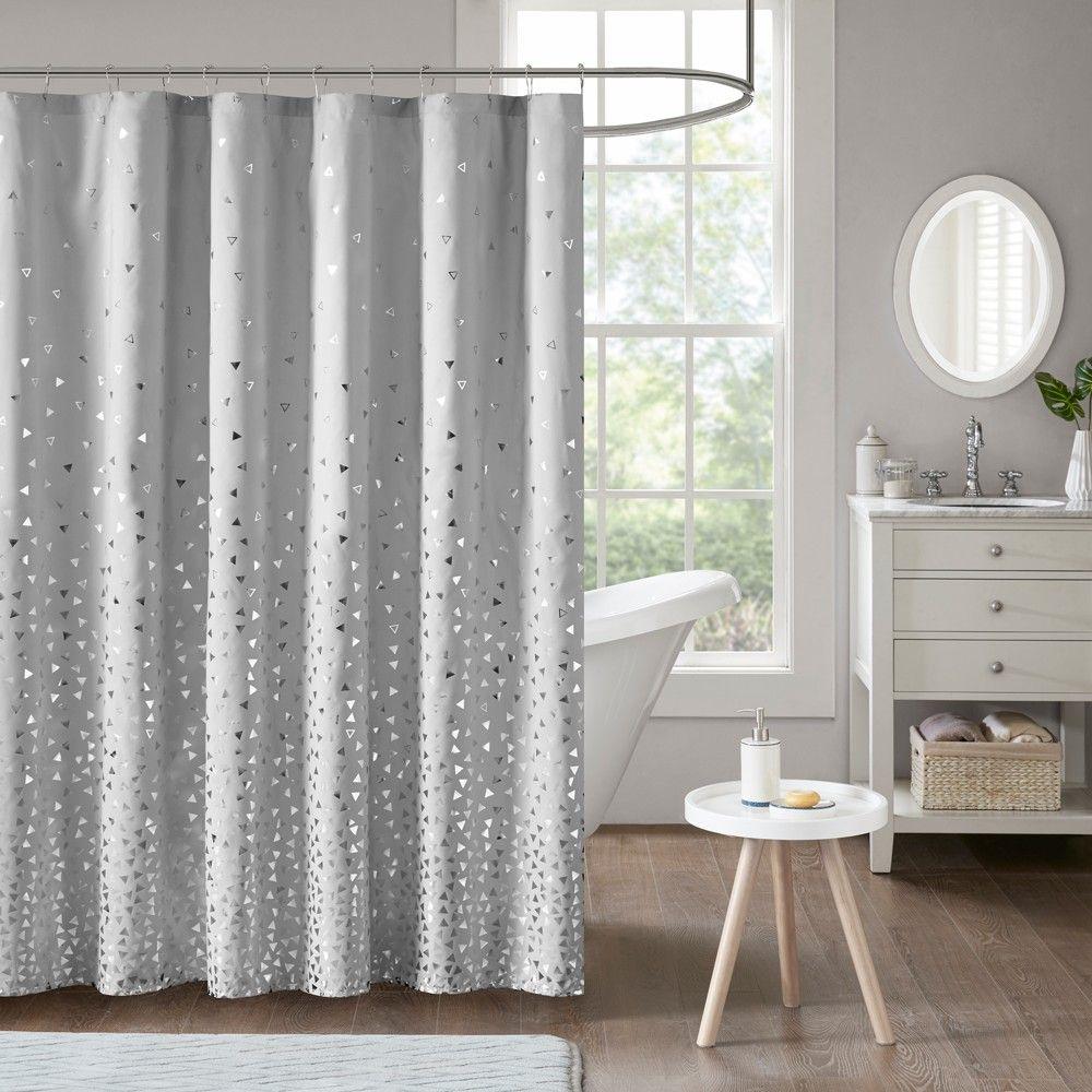 Nova Printed Shower Curtain Gray Silver In 2020 Purple Shower