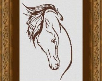 HORSE / cheval -Counted cross stitch pattern /grille point de croix ,Cross Stitch PDF, Instant ...