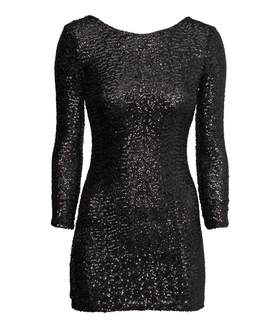ed07f37b Short black sequin dress with low-cut back & long sleeves. | Party in H&M