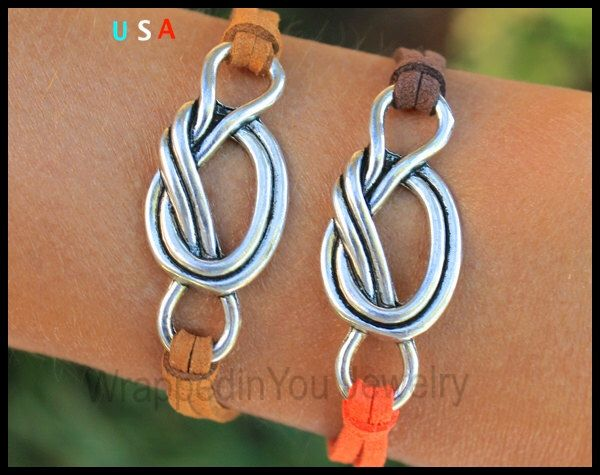 INFINITY Knot Charm Bracelet - Silver Knot Charm on Microfiber Faux Suede Stacking Bracelet - Pick SIZE / COLOR - Made in Usa - sc by WrappedinYou on Etsy https://www.etsy.com/listing/222541236/infinity-knot-charm-bracelet-silver-knot