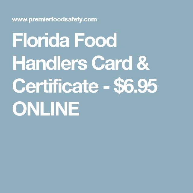 Florida Food Handlers Card & Certificate