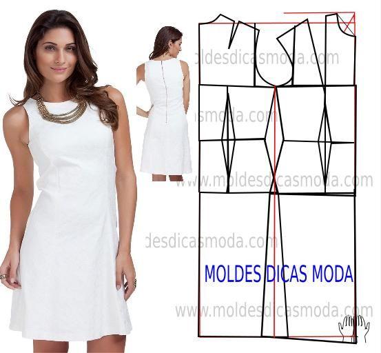 0cf3f0fde MOLDE DE VESTIDO BRANCO   Vestidos simples, calças, saias , blusa ...