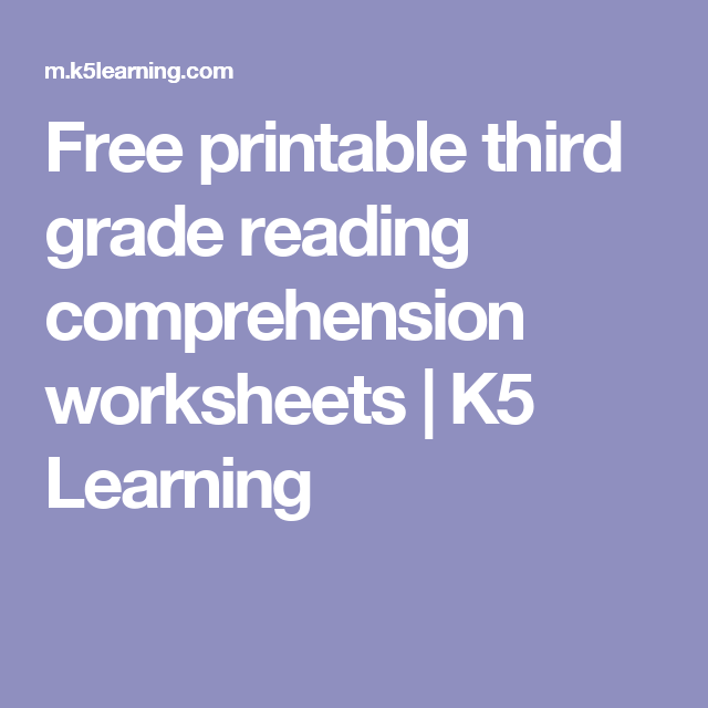 Free Printable Third Grade Reading Prehension