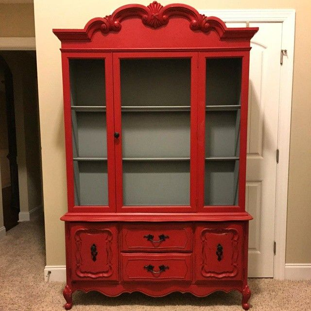 Distress Cabinets: Barn Red China Cabinet Light Distress In 2019