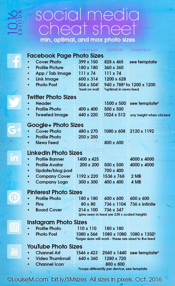 Social Media Cheat Sheet 2019 Must Have Image Sizes