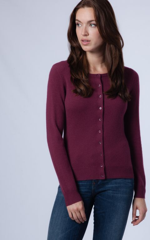 87e12cb640f5 Classic round neck cashmere cardigan in burgundy by REPEAT