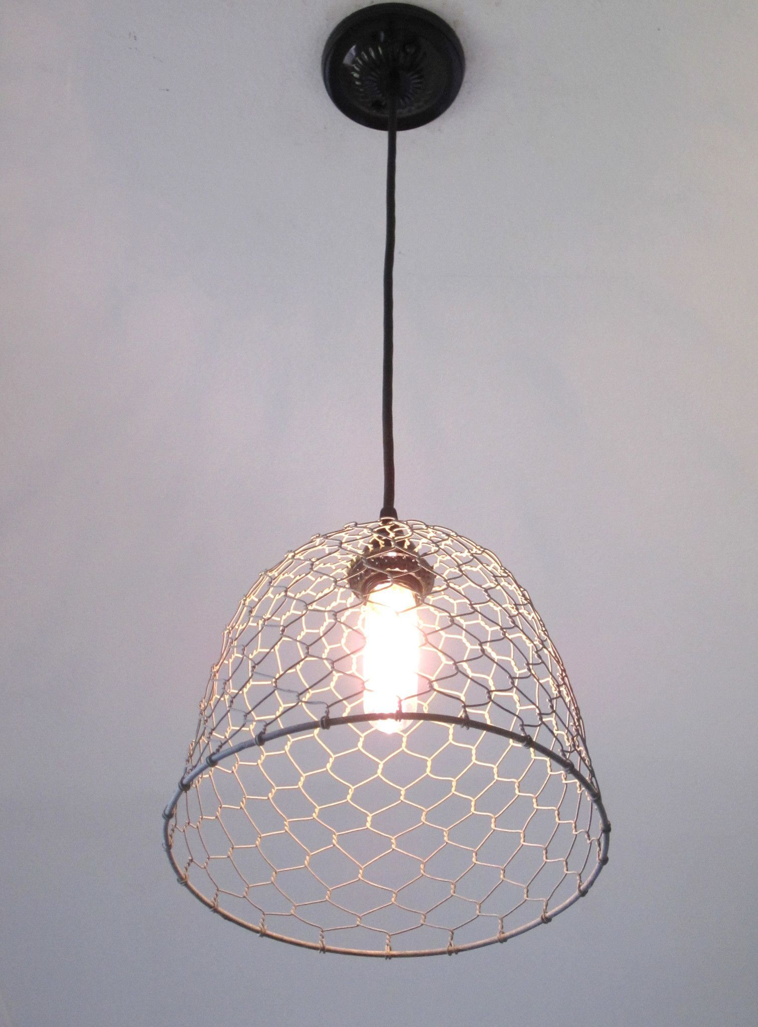 Galvanized Chicken Wire Dome Pendant Light | Chicken wire, Coops and ...