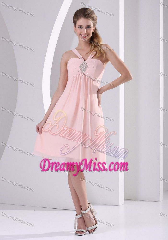 Clearance V-neck Knee-length Prom Dress for Girls with Beadings in ...