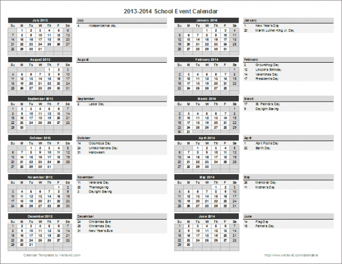 Calendar Template School The Ultimate Revelation Of