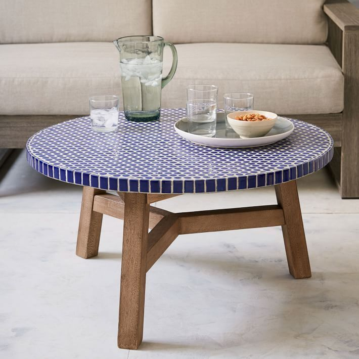 West Elm Mosaic Ceramic Tiled Blue Penny Top Coffee Table
