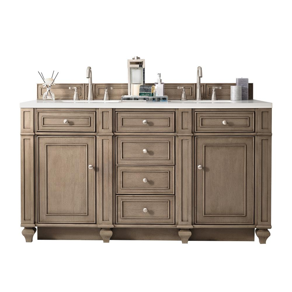 James Martin Signature Vanities Bristol 60 In W Double Vanity In Whitewashed Walnu Double Vanity Bathroom Double Sink Bathroom Vanity Solid Surface Vanity Top