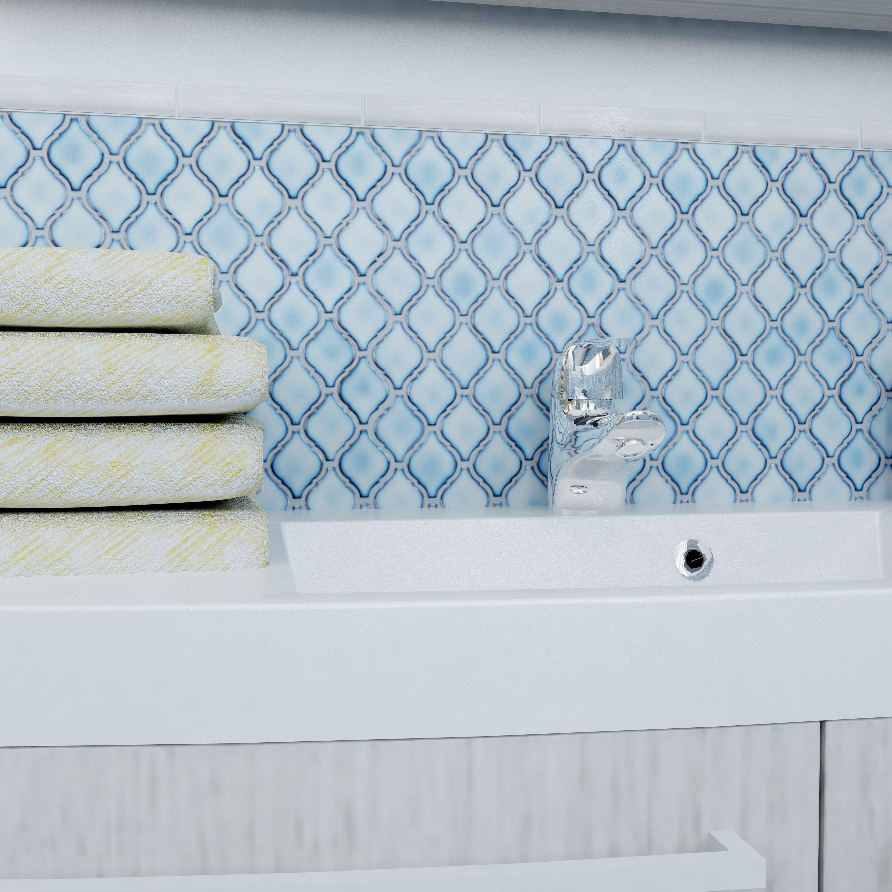 "Arabesque 1 87"" x 2 75"" Porcelain Mosaic Tile in Aella"