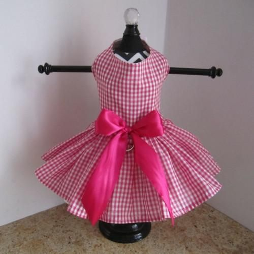 8d62aa545c7 Hot Pink And White Plaid Dog Dress