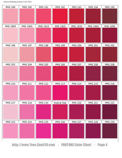 Scarlet Color Chart  Pantone Color Chart Pms Ink Color Matching