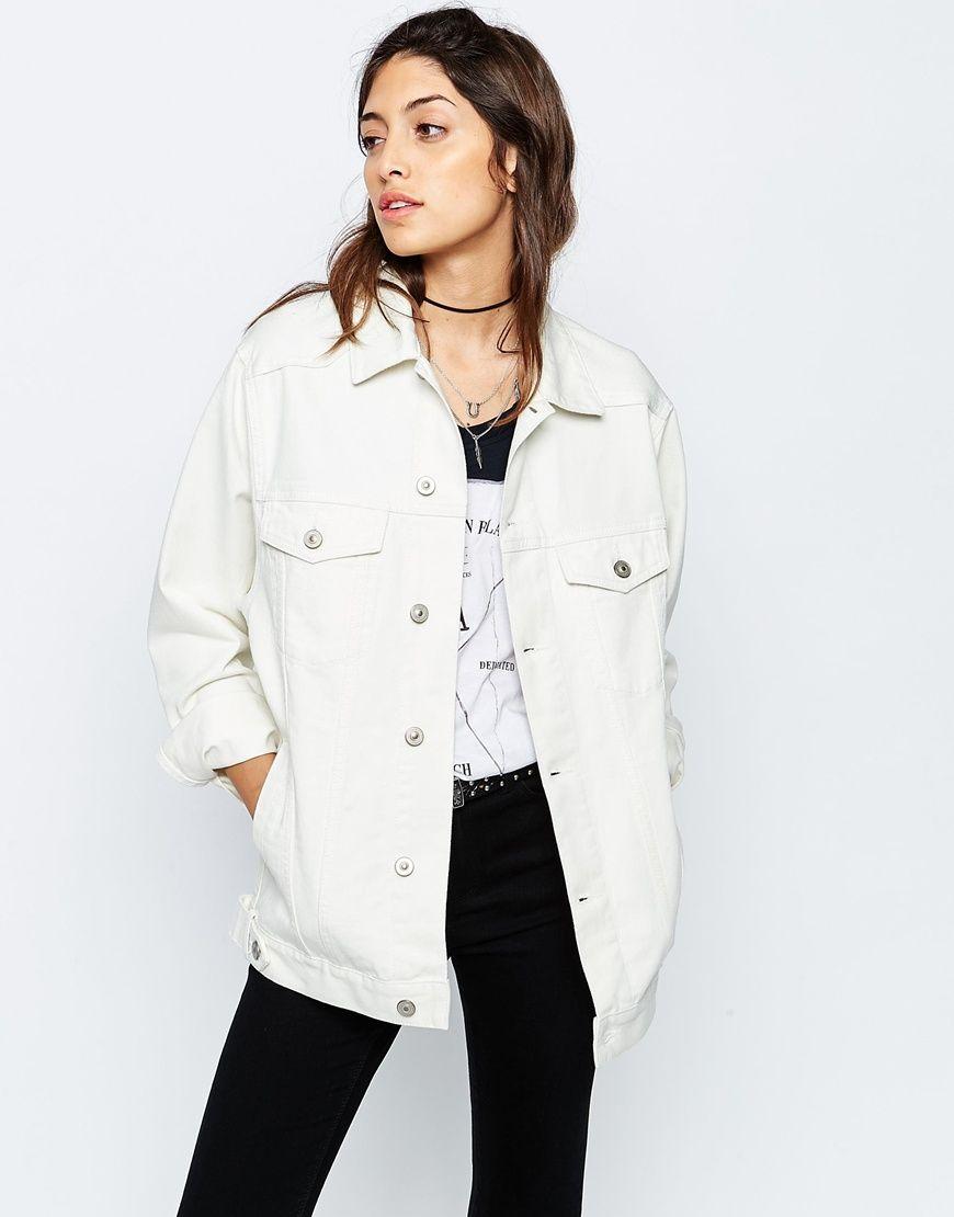 ASOS - Veste en jean style girlfriend - Blanc cassé